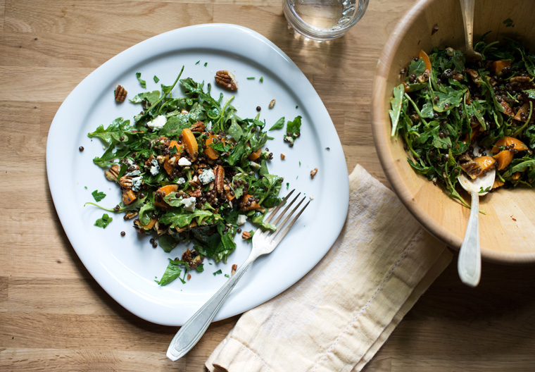 Apricot & Lentil Salad with Pecans & Blue Cheese
