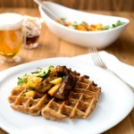 Beer Waffles with Smokey Tempeh & Sweet and Spicy Relish