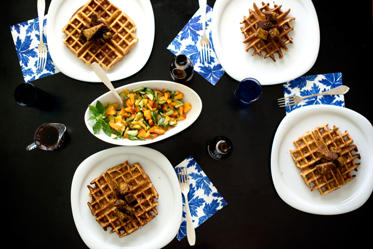 Beer Waffles and Smokey Tempeh with Sweet & Spicy Relish