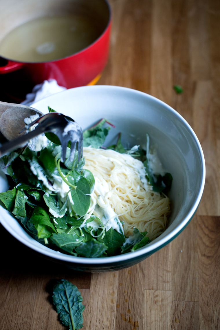Creamy Pasta with Wilted Greens & Lemon Wine Sauce