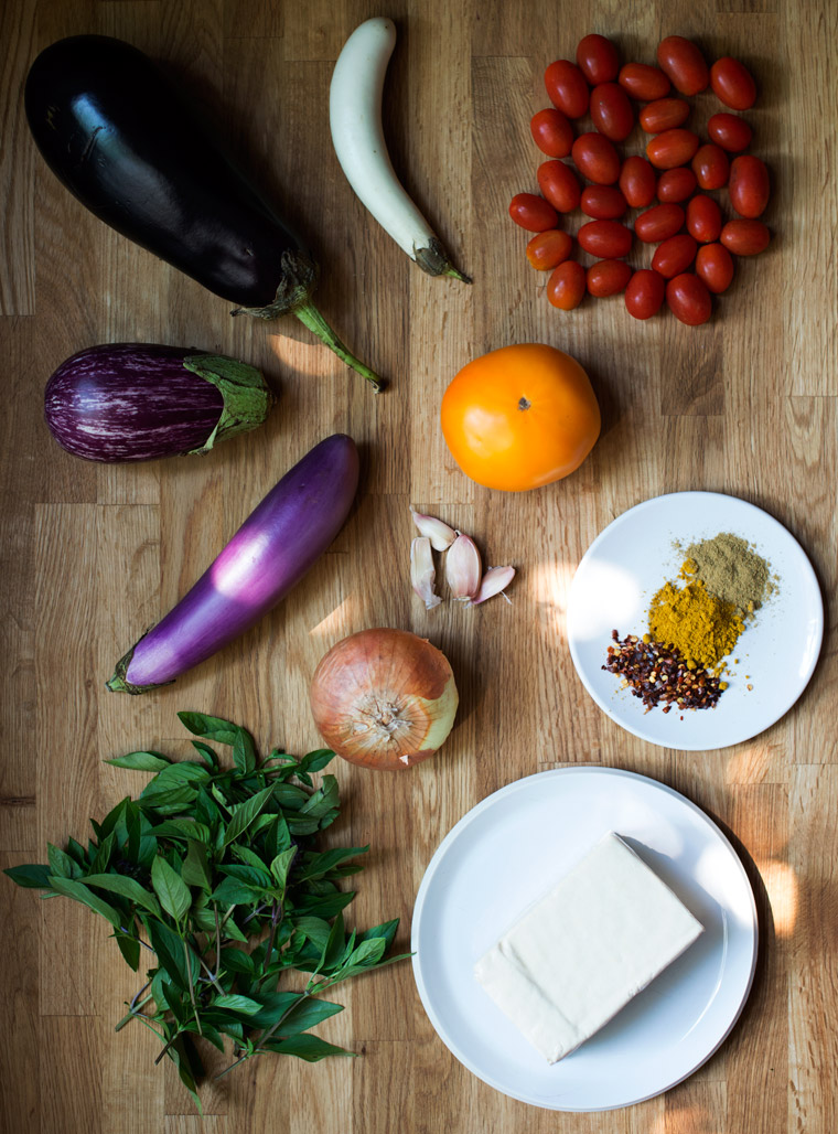 Eggplant, Tofu Ratatouille with Thai Basil