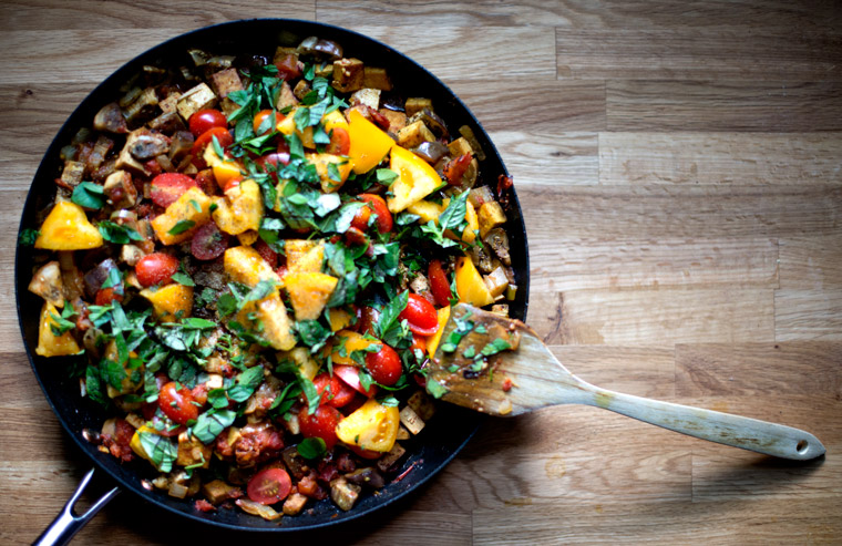 Eggplant & Tofu Ratatouille with Thai Basil