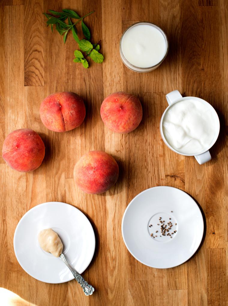 Peach Lassi with Cardamom & Mint