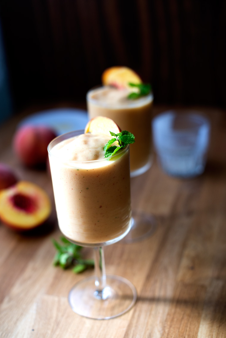 Peach Lassi with Cardamom & Mint