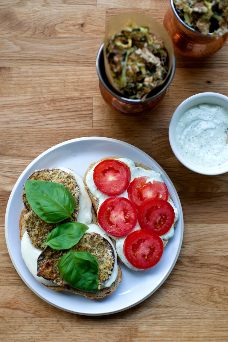 Baked Eggplant Sandwich & Zucchini Curly Fries with Garlic, Basil Aioli