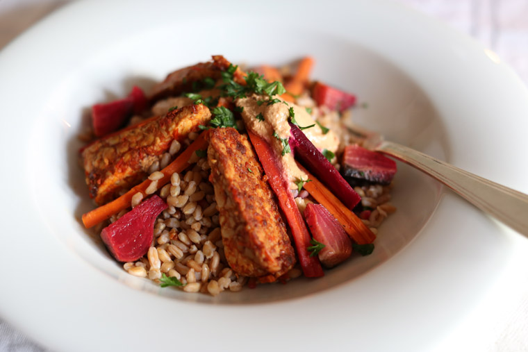 Beer-Braised Tempeh with Farro & Roasted Root Vegetables