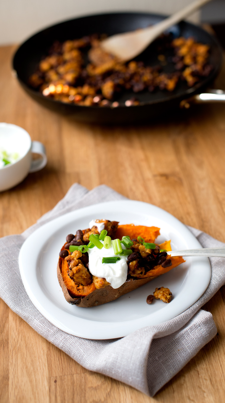 Stuffed Sweet Potato with Barbecued Tempeh