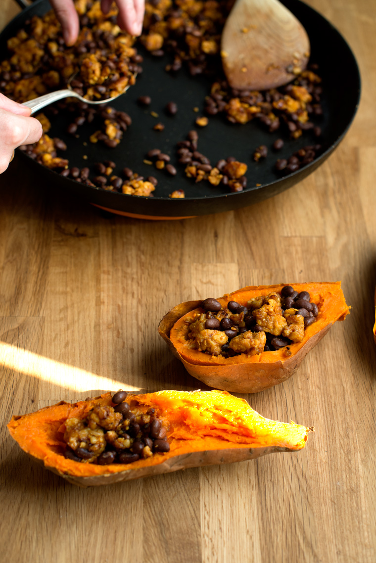Stuffed Sweet Potatoes with Barbecued Tempeh