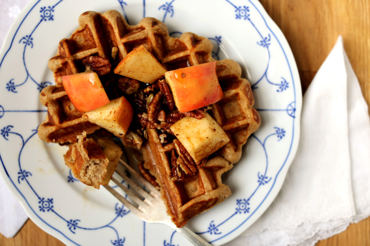 Waffles With Apple Cider Syrup And Pecans Recipes — Dishmaps