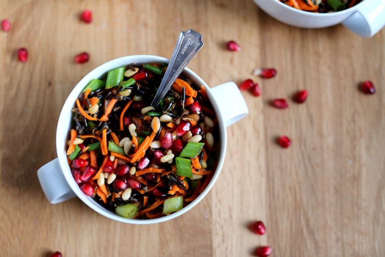 Wild Rice Salad with Pomegranate & Pine Nuts