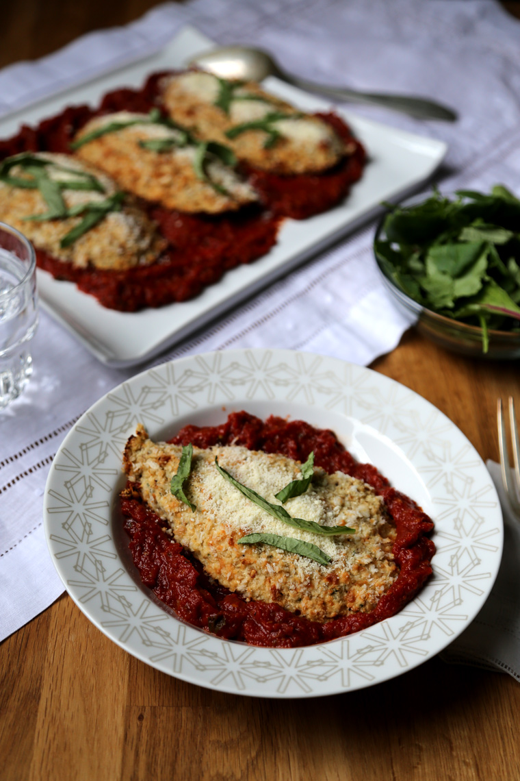 Vegetarian Chicky Parm with Marinara Sauce