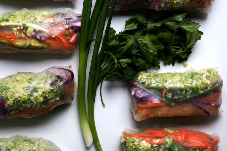 Winter Summer Rolls with Shaved Brussels Sprouts + Orange Ginger Cashew Dip
