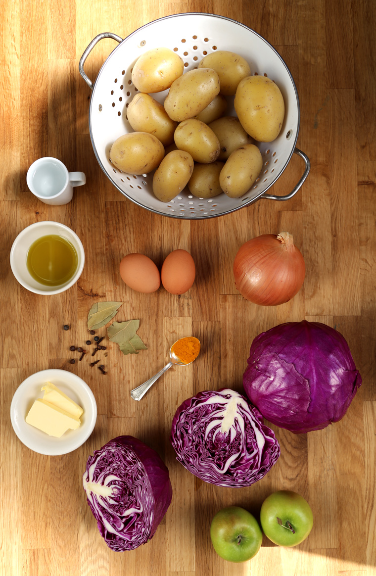 Braised Red Cabbage + Golden Turmeric Potato Coins