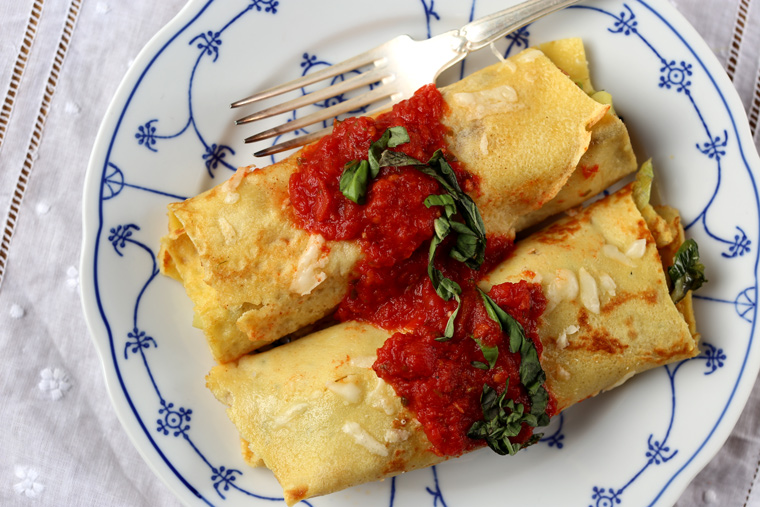 Chickpea Flour Crêpes with a Savory Filling
