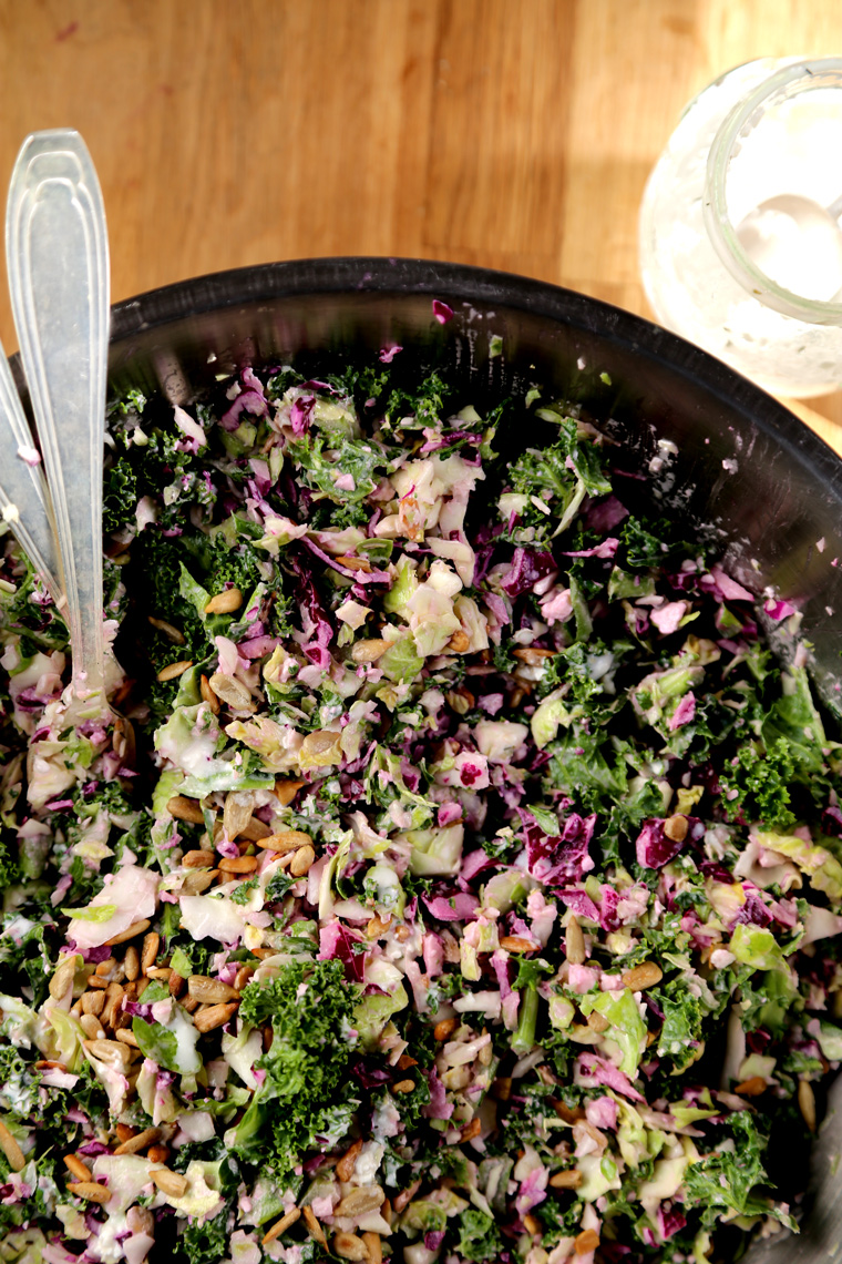 Winter Slaw with Sunflower Seeds & Feta Dressing