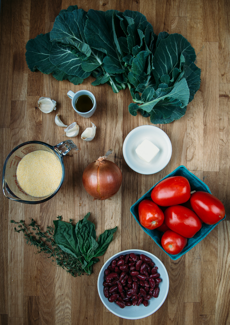 Polenta with Slow Roasted Tomatoes & Collard Greens