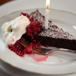 Flourless Chocolate Cake with Smashed Raspberries