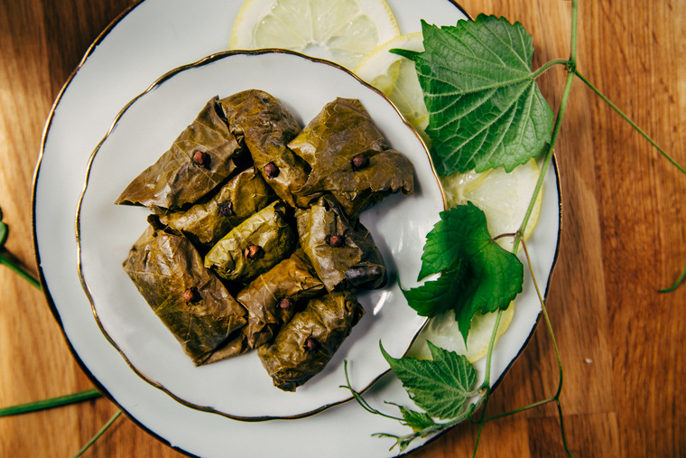 Stuffed Grape Leaves with Black Rice + Dried Blueberries