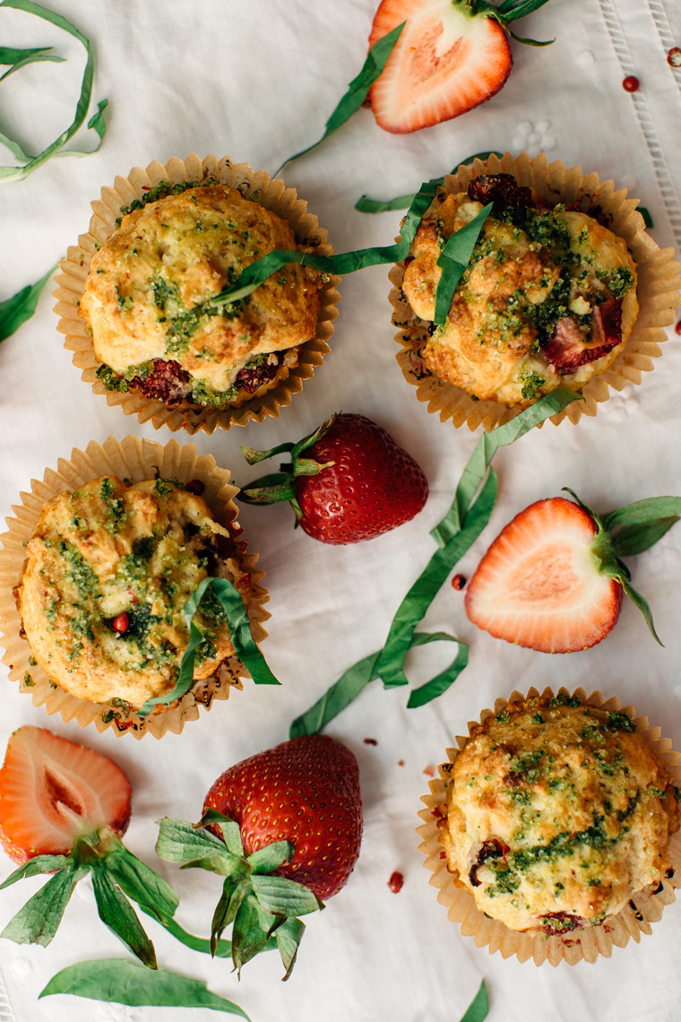 Strawberry Muffins with Pink Peppercorns & Basil Sugar