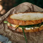 Egg Salad Sandwich with Miso + Caramelized Garlic Scapes