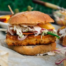 Chicken Fried Tofu Sliders with Spicy Peach Slaw