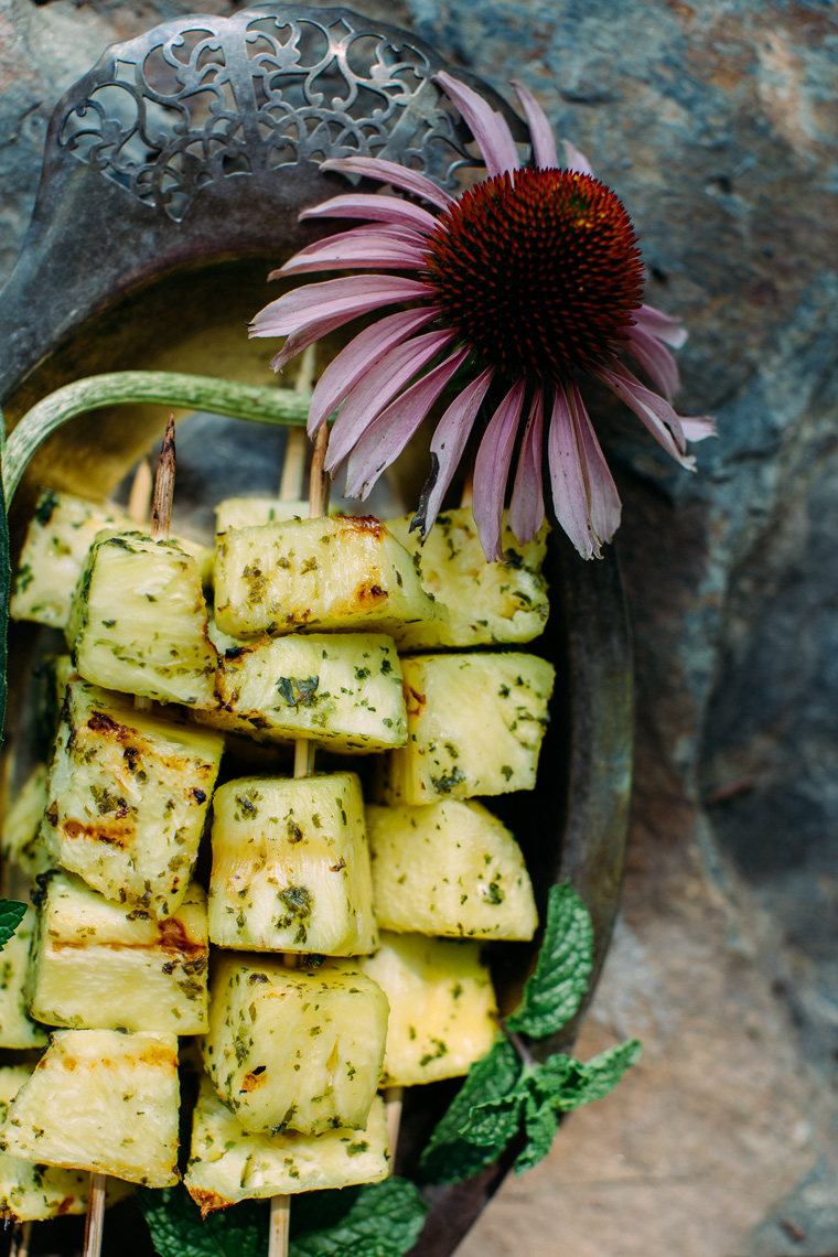 Grilled Pineapple with Jalapeño Basil Sugar