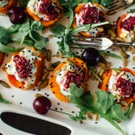 Roasted Sweet Potato with Smokey Eggplant Dip + Cherry Chutney
