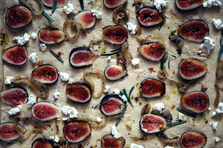 Fig Focaccia with Caramelized Onions, Goat Cheese + Rosemary