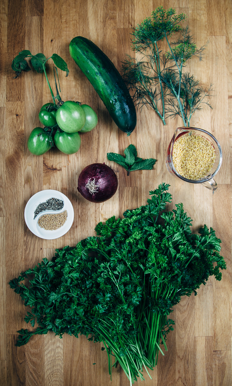 Tabouli with Pickled Green Tomatoes