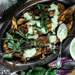 Miso Grilled Eggplant with Thai Basil Garlic Sauce + Freekeh