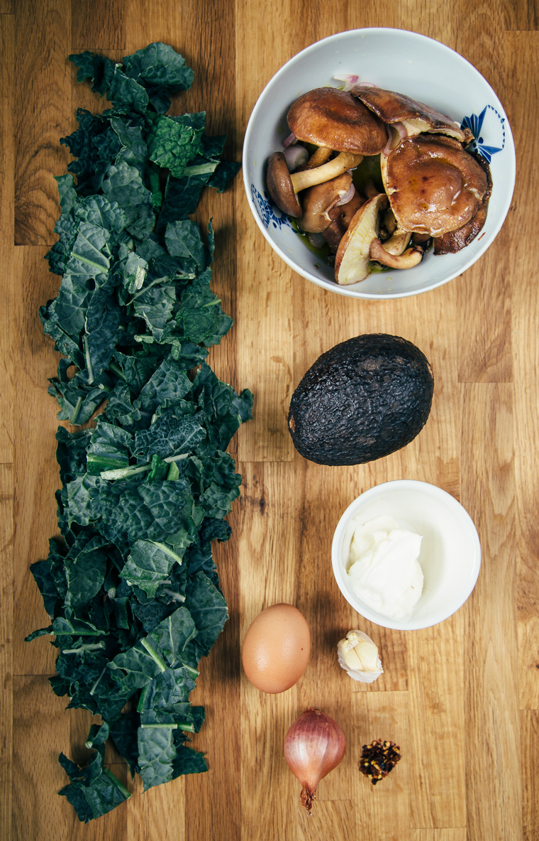 Marinated Mushroom Sandwich with Sautéed Greens + Avocado + Egg