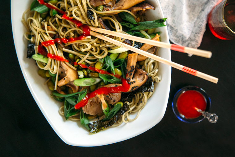Green Tea Soba Noodles with Shiitake + Edamame