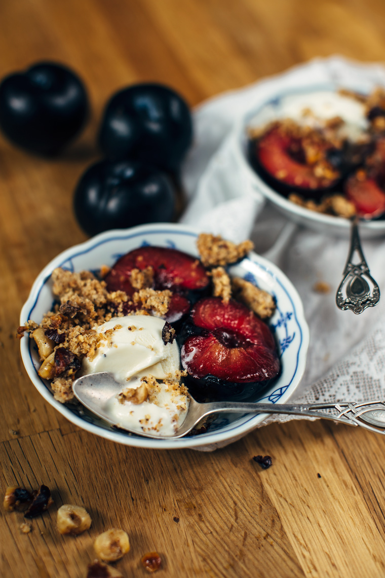 Brown Butter Hazelnut Cookie Crumble with Torched Plums