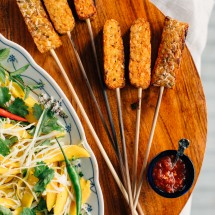 Tempeh Satay with Peanut Sauce + Spicy Mango Salad