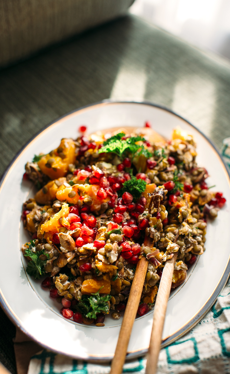 Lentil Salad with Roasted Butternut Squash, Chèvre + Pomegranate