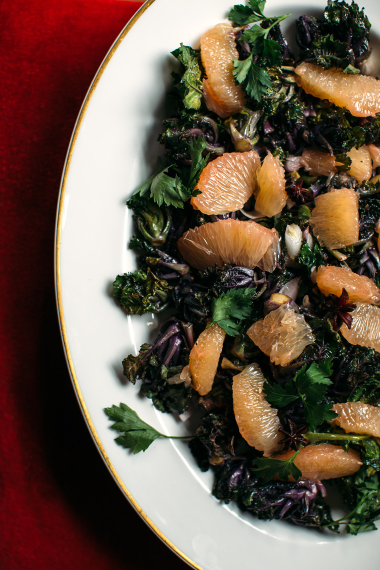 Roasted Kale Sprouts with a Sweet + Spicy Grapefruit Dressing