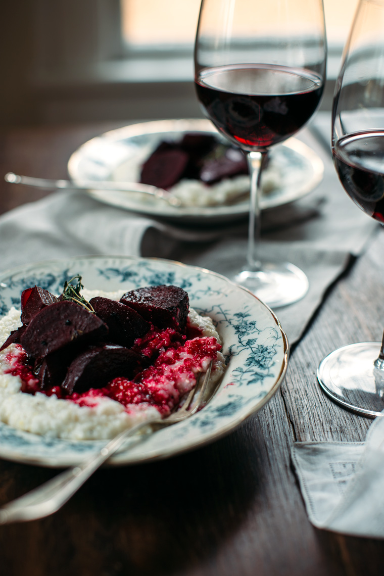 Wine-Braised Beets with Goat Cheese Grits