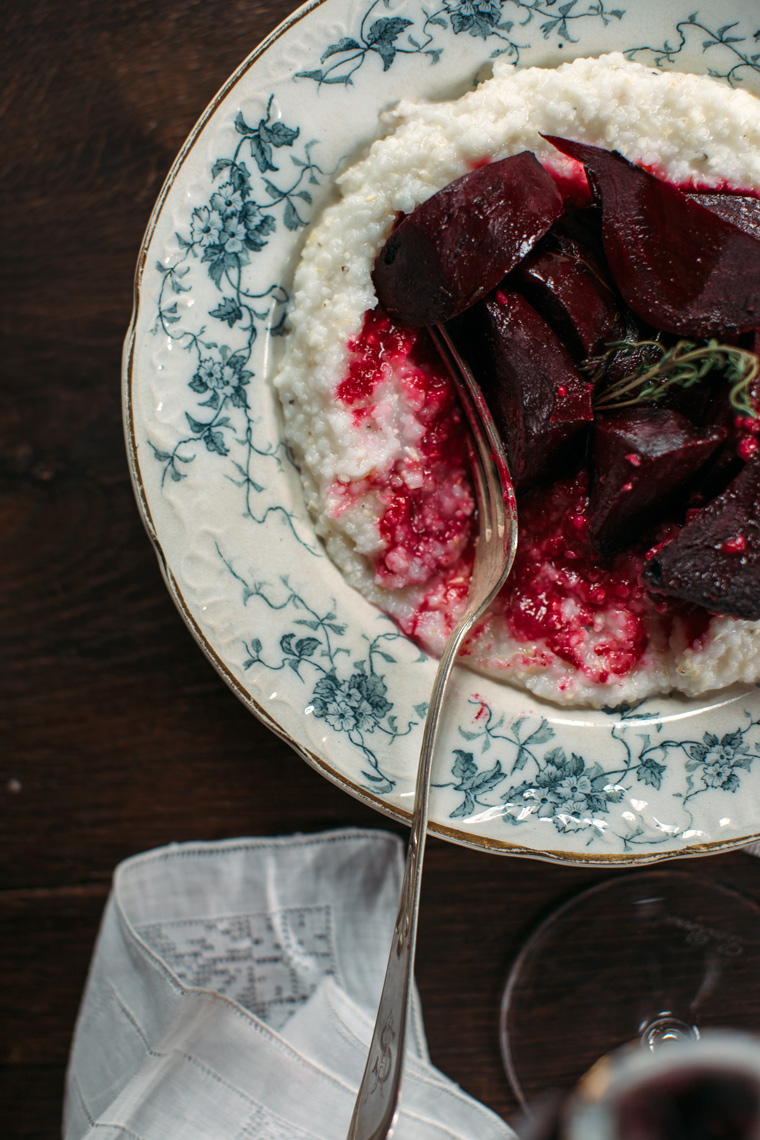 Wine Braised Beets with Goat Cheese Grits