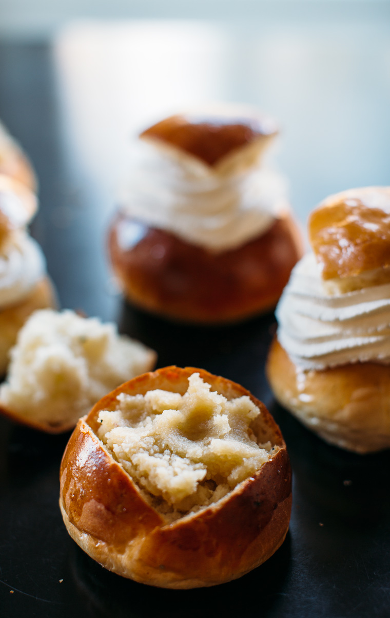 Semlor {Swedish Cardamom Cream Puffs with Almond Paste}