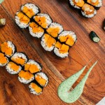 Miso Roasted Sweet Potato Sushi with Finger Lime Caviar + Cilantro Aïoli