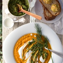Roasted Carrot Soup with Carrot Top + Dill Pesto + Goat Cheese Cream