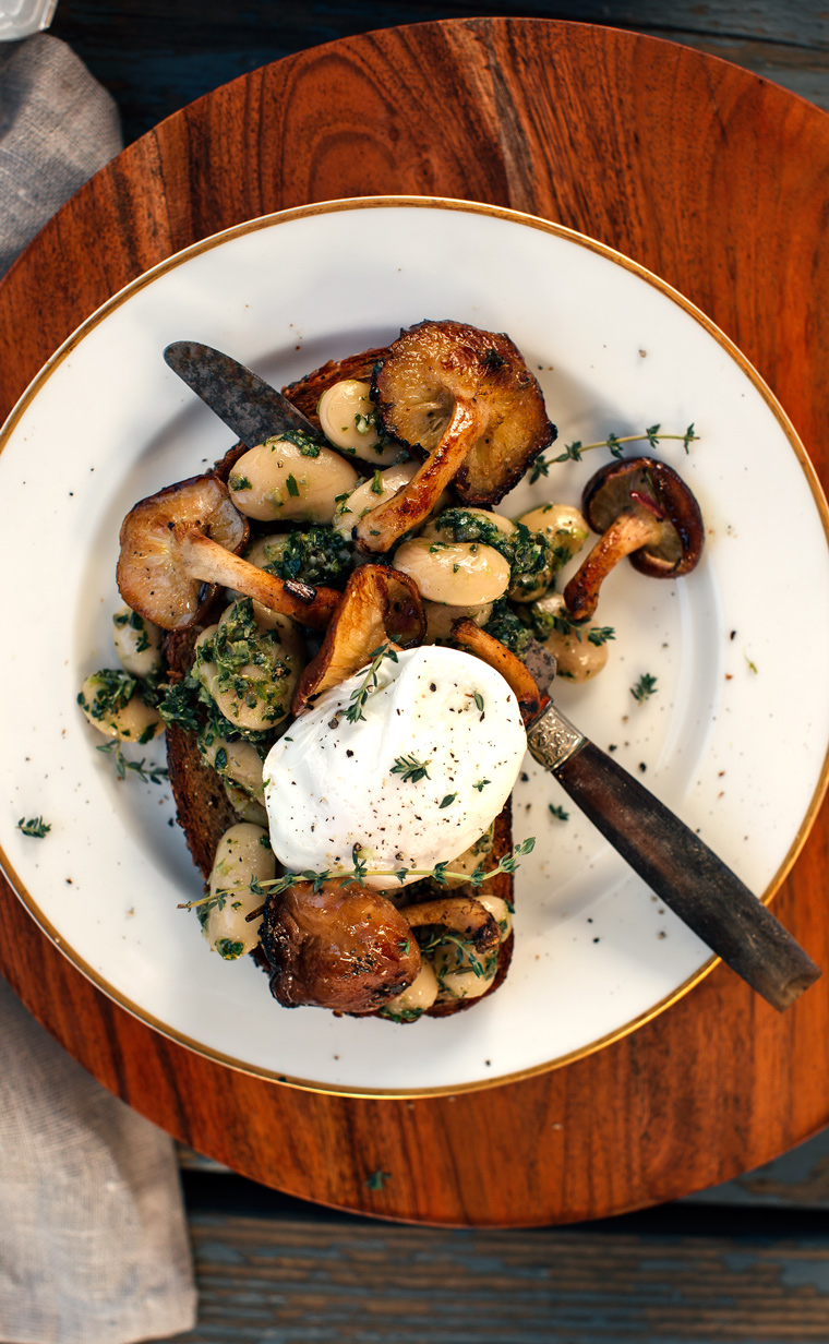 Herbed Corona Beans + Marinated Mushrooms on Garlic Toast with a Poached Egg
