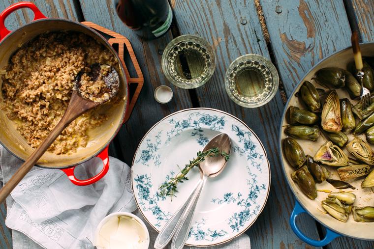 Wine-Braised Baby Artichokes + Farro Risotto