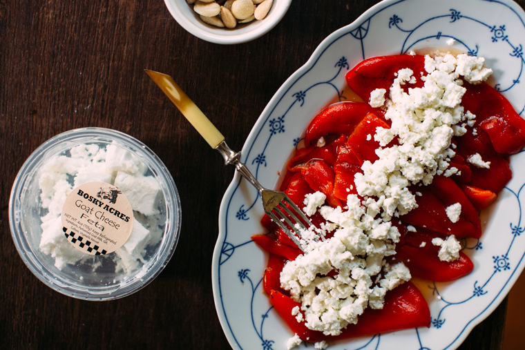 Roasted Red Pepper, Almond + Feta Salad