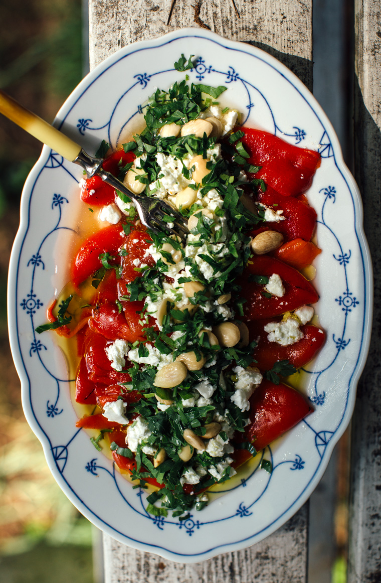 how to serve roasted red peppers