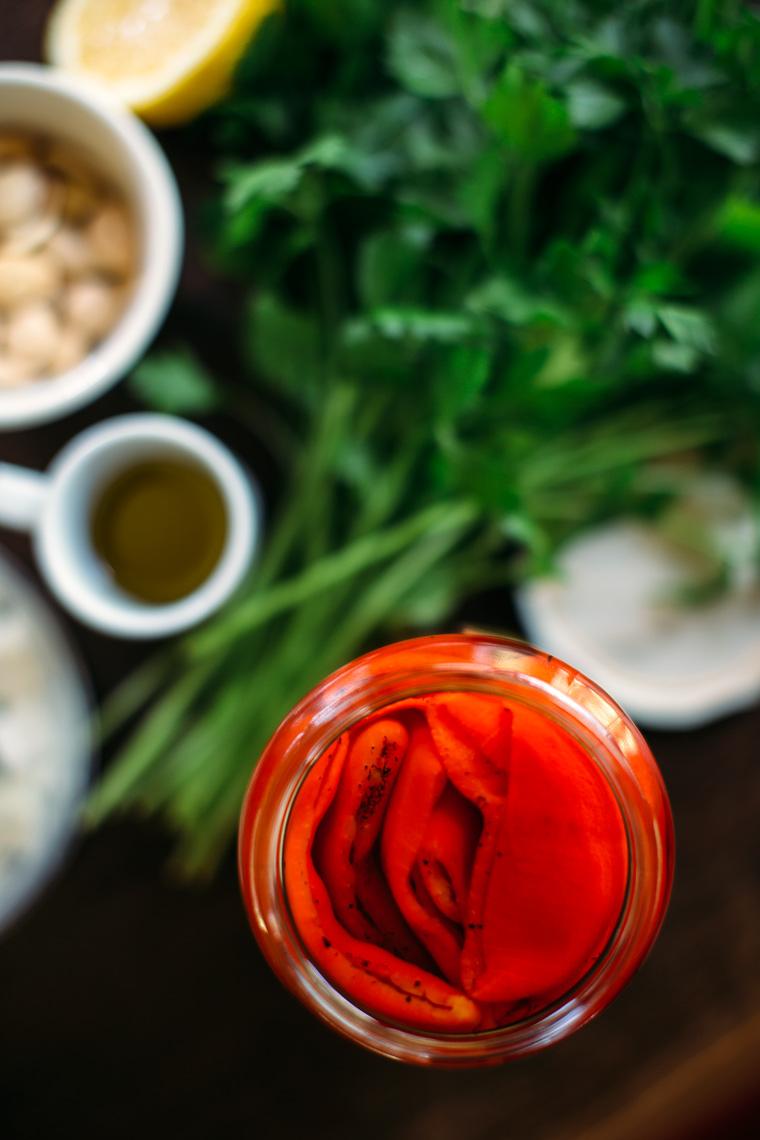 Roasted Red Pepper, Almond + Feta Salad