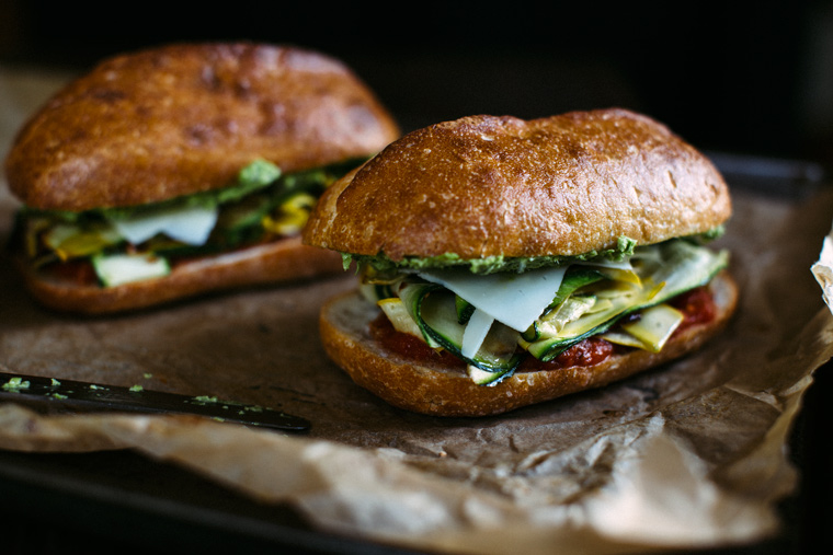 Summer Squash Sandwich with Garlic Scape Aïoli