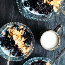 Cardamom-Infused Black Rice Porridge with Blueberries + Coconut