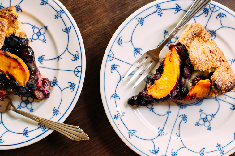 Blueberry + Peach Galette with Almond Cream