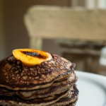 Buckwheat Pancakes with Maple Whiskey Soaked Peaches